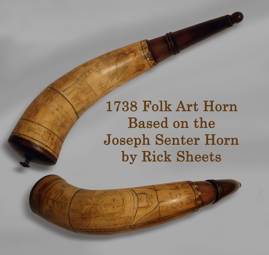 1738 Folk Art Powder Horn.