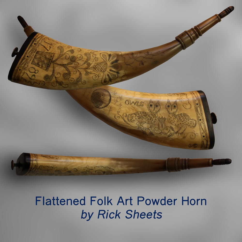 Flattened Folk Art Powder Horn